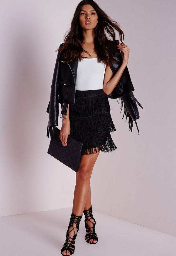 Chevron Fringe Mini Skirt Black
