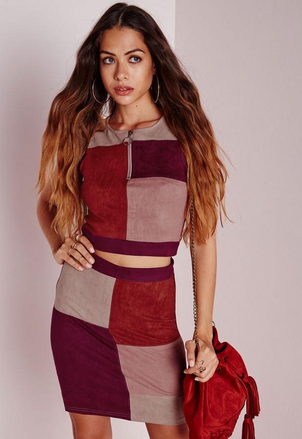 Patchwork Faux Suede Mini Skirt Multi