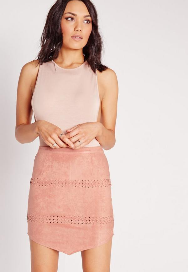 Stitch Detail Faux Suede Mini Skirt Mauve