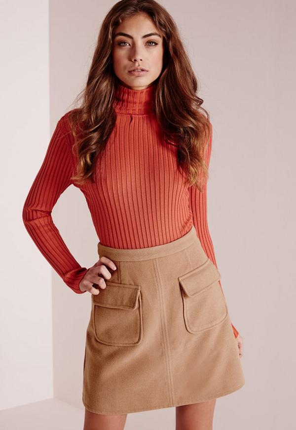 Wool Pocket A Line Skirt Camel