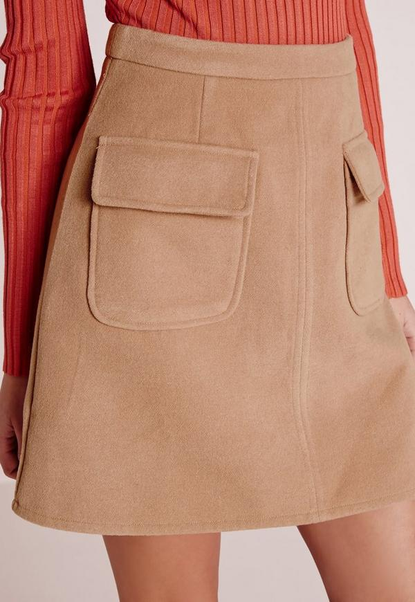 wool pocket a line skirt camel missguided