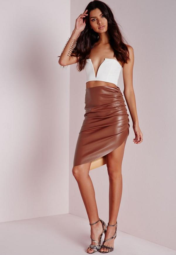 Faux Leather Ruched Asymmetric Midi Skirt Terracotta