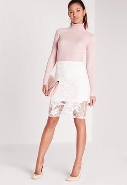Lace Floral Midi Skirt White