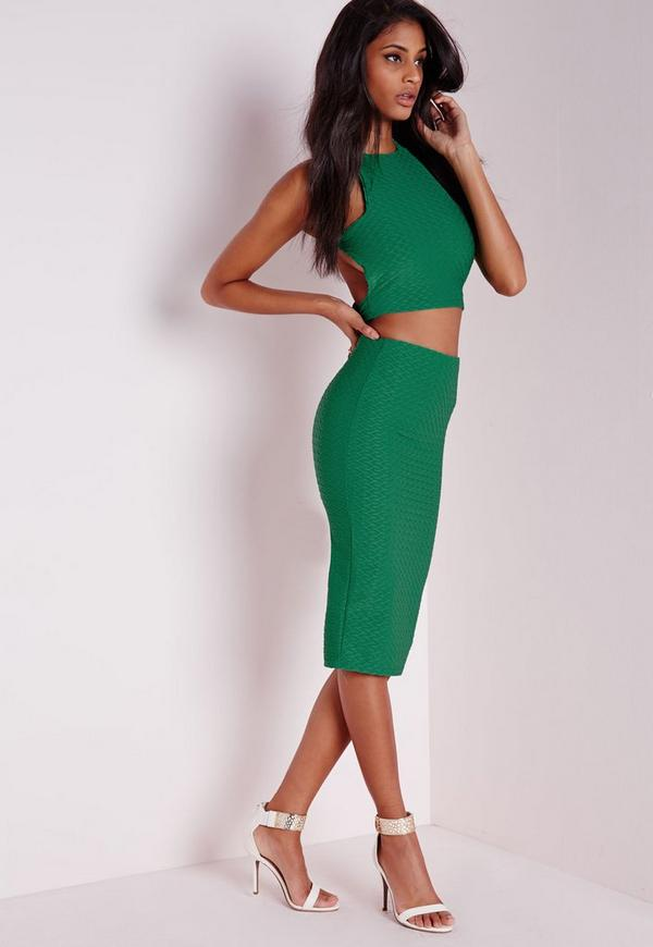 Jacquard Midi Skirt Green