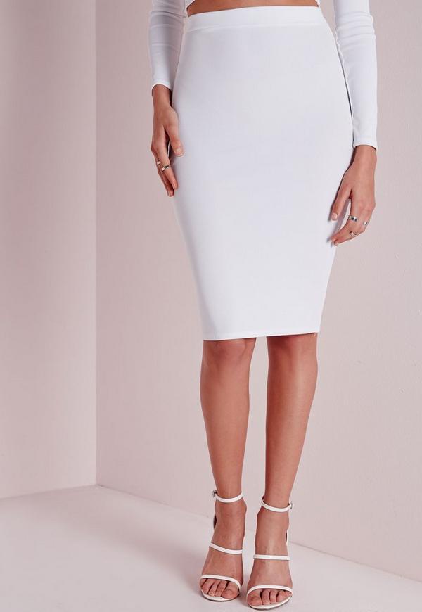ribbed midi skirt white missguided