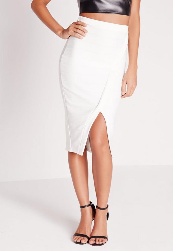 Bandage Split Midi Skirt White | Missguided