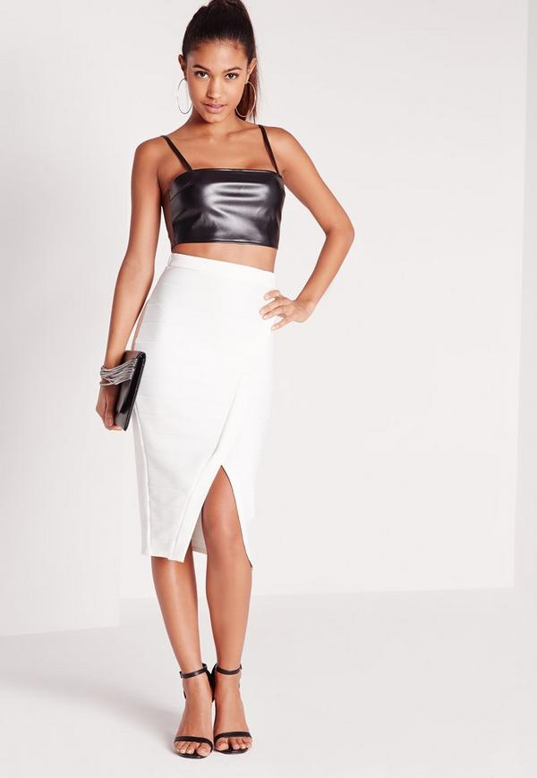 Bandage Split Midi Skirt White - Skirts - Missguided