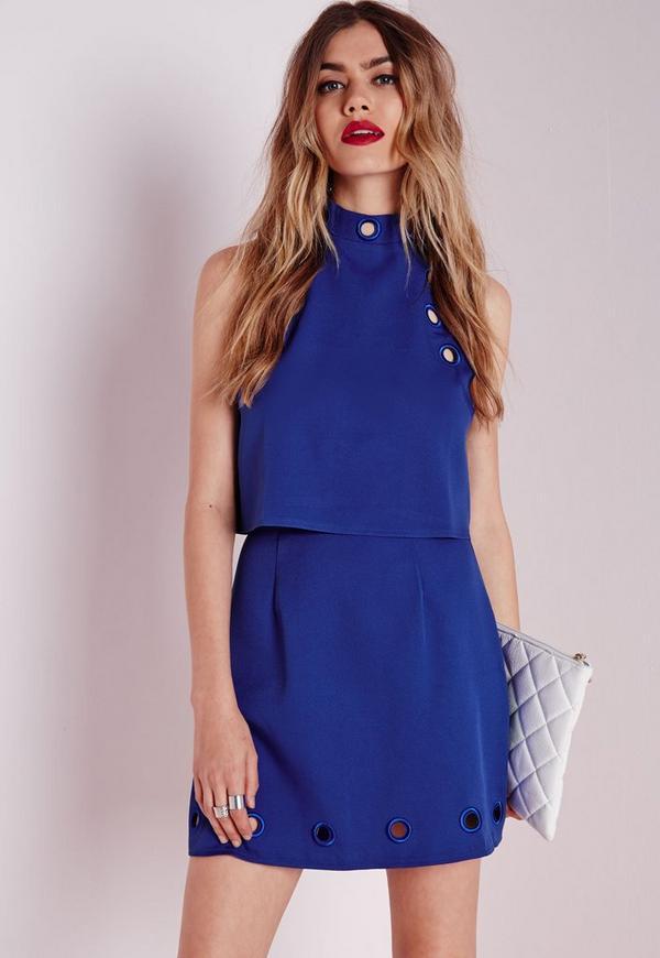 Eyelet Detail Mini Skirt Cobalt Blue