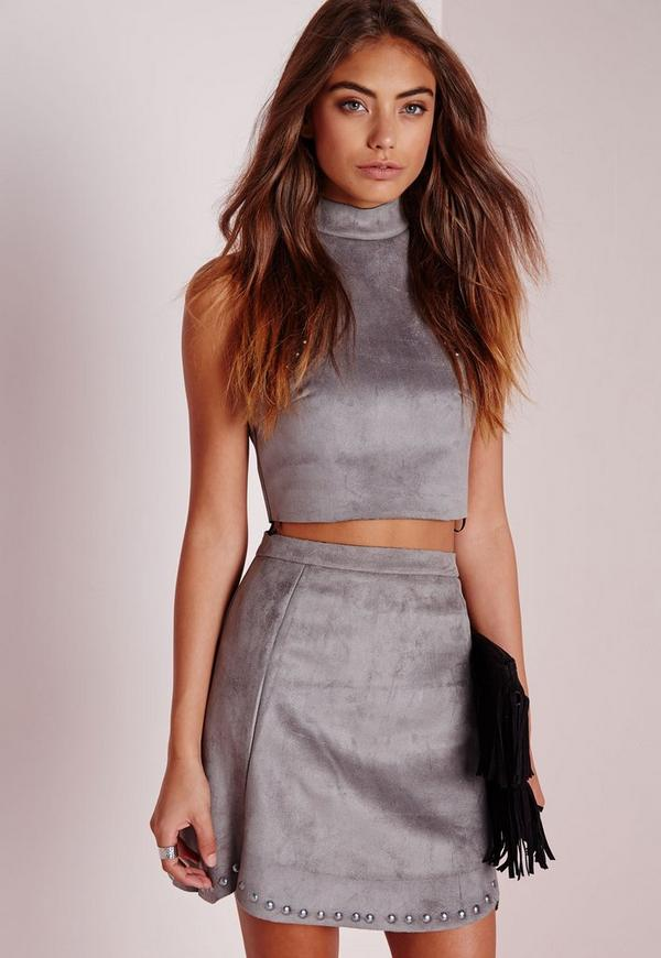 Stud Faux Suede Mini Skirt Grey