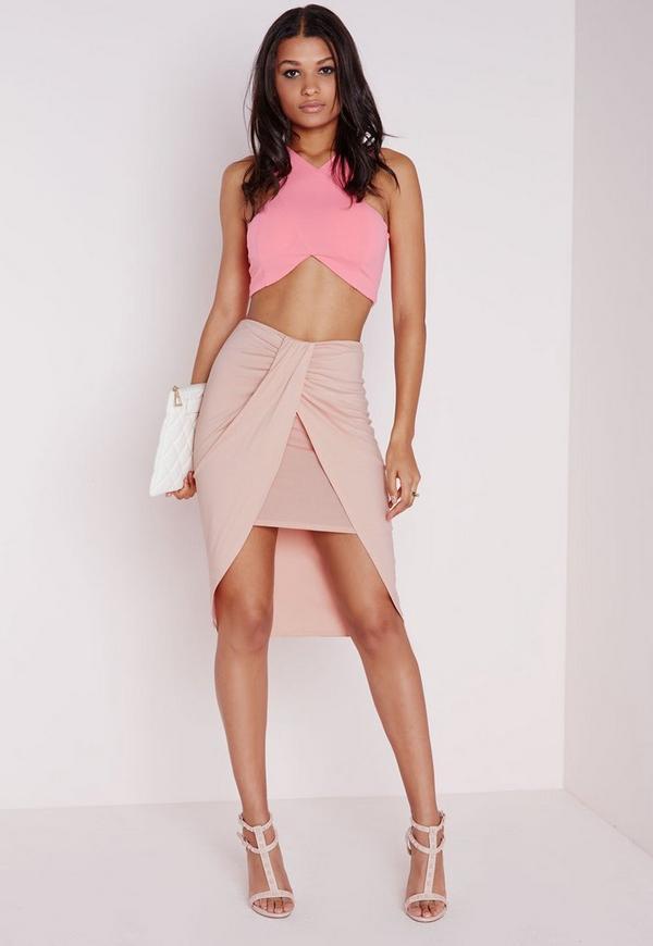 Wrap Jersey Midi Skirt Nude