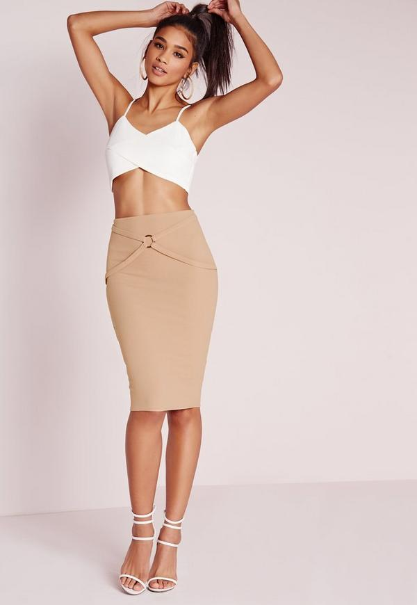 Harness Detail Midi Skirt Camel