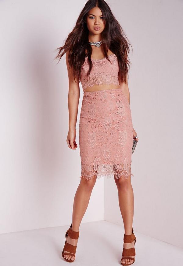Lace Midi Skirt Rose