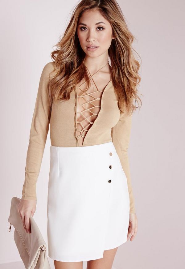 Button Gold Wrap Mini Skirt White