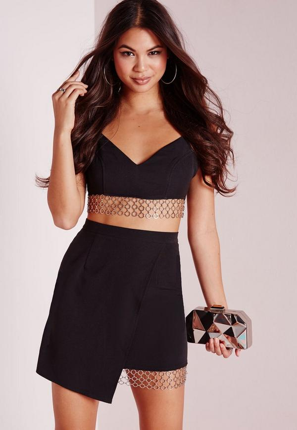 Chain Trim Wrap Mini Skirt Black