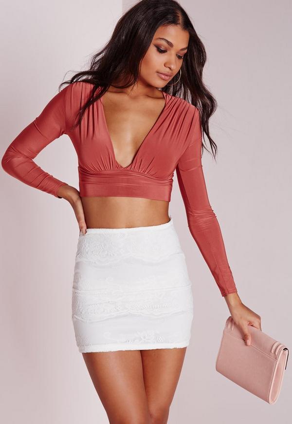 Lace Mini Skirt White