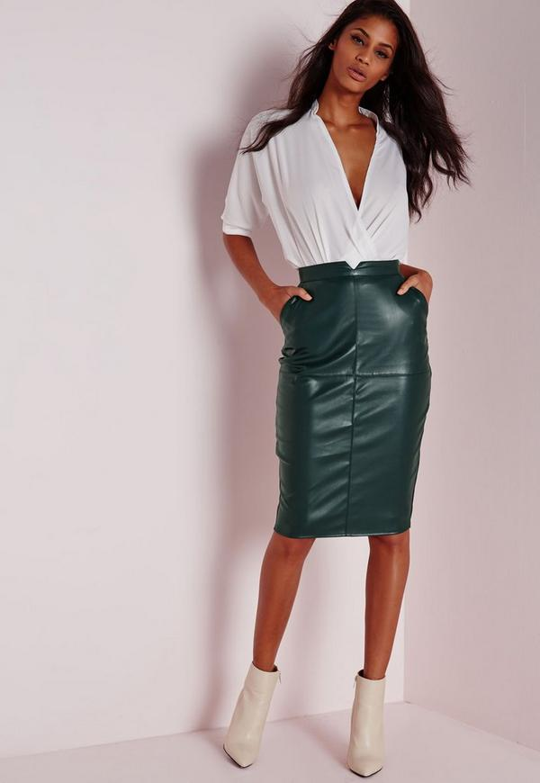 Back Split Faux Leather Midi Skirt Khaki
