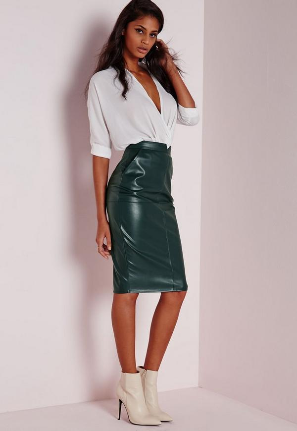 Back Split Faux Leather Midi Skirt Khaki | Missguided