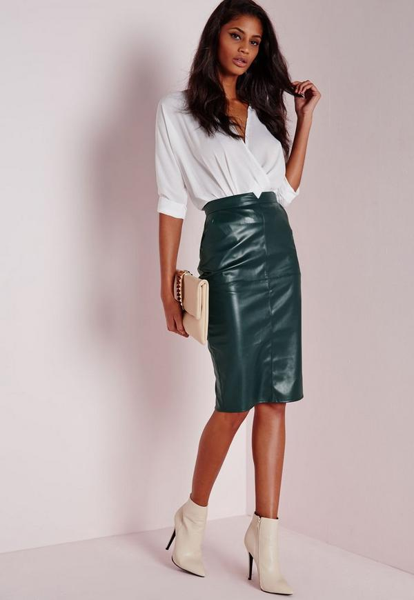 4ca8da554f Back Split Faux Leather Midi Skirt Khaki | Missguided
