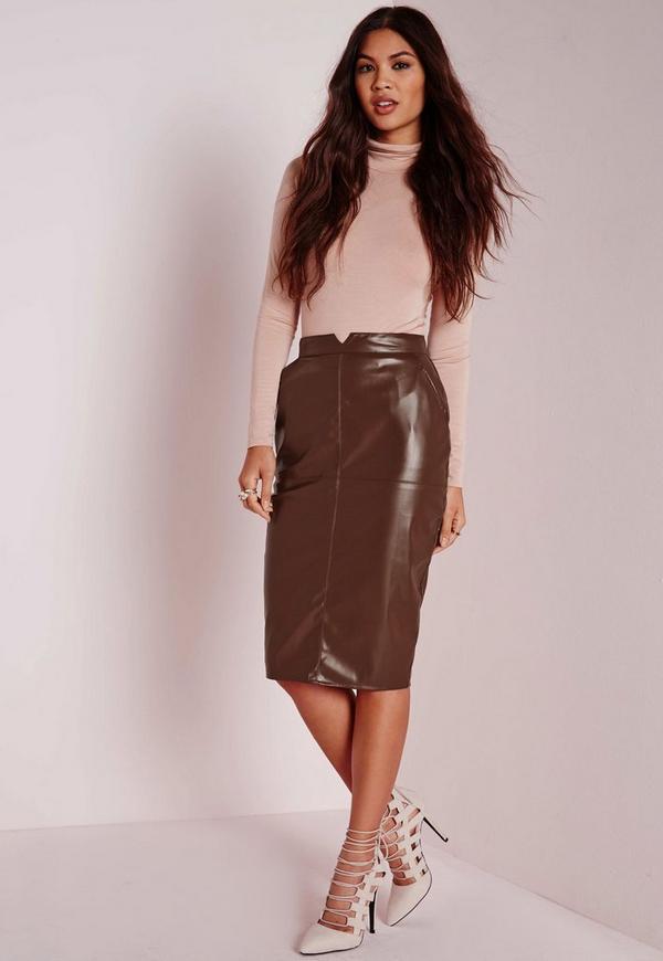 Back Split Faux Leather Midi Skirt Brown