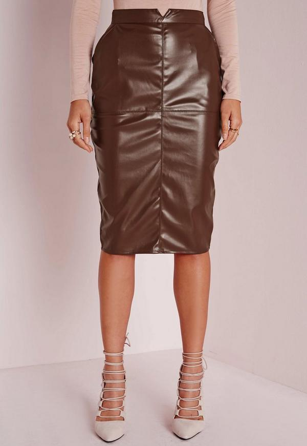 back split faux leather midi skirt brown missguided