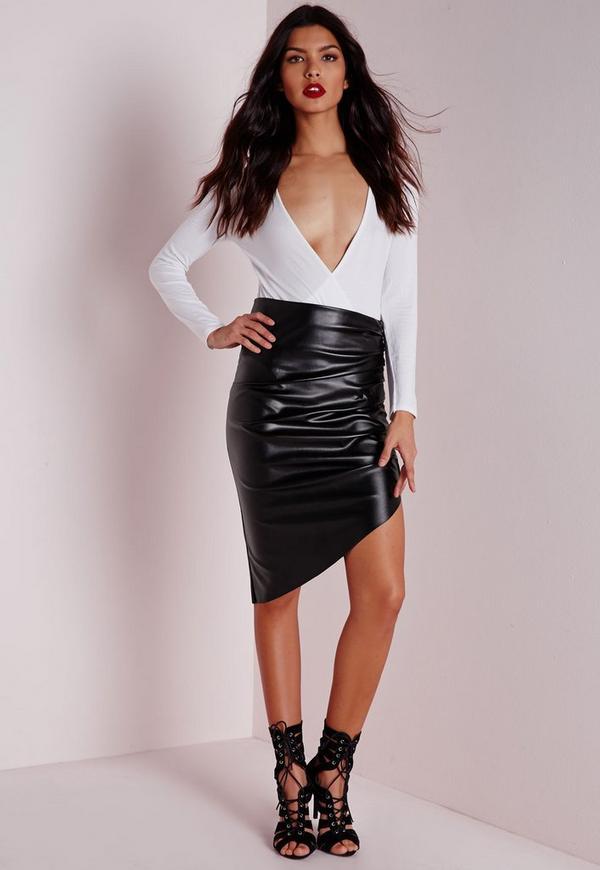 Faux Leather Ruched Asymmetric Midi Skirt Black
