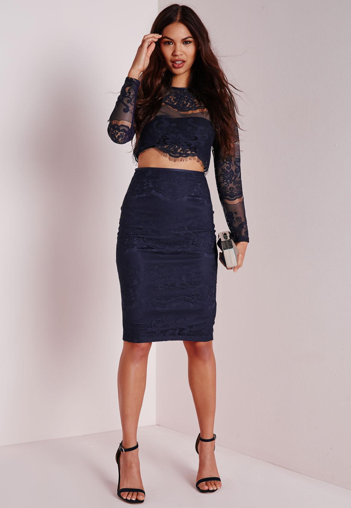 Lace Midi Skirt Navy - Skirts - Midi Skirts - Missguided