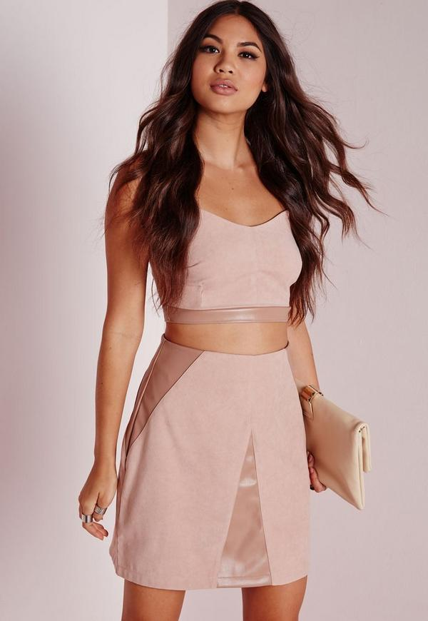 Faux Suede And Leather Contrast Skirt Nude