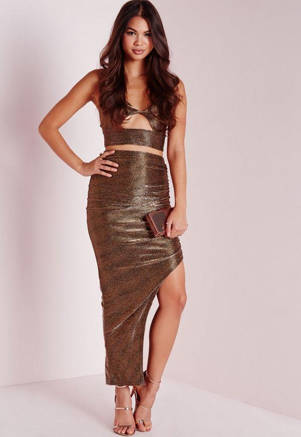 Metallic Ruched Midi Skirt Gold