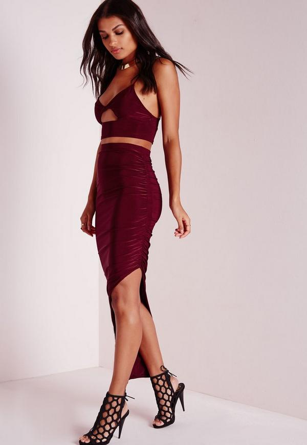 Ruched Side Slinky Skirt Burgundy