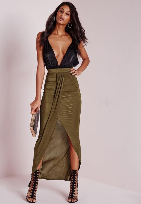 Gathered Slinky Maxi Skirt Khaki