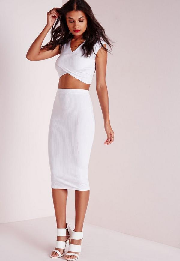 ribbed bodycon midi skirt white missguided