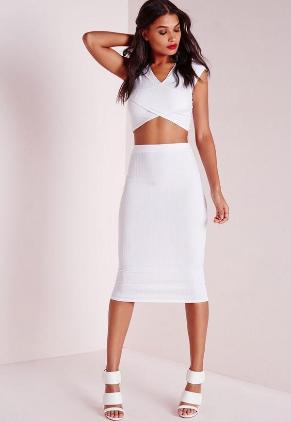 ribbed bodycon midi skirt white missguided