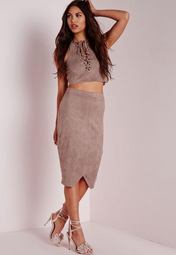 Wrap Over Faux Suede Midi Skirt Grey