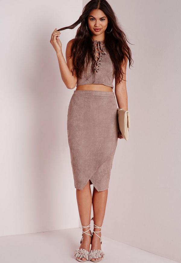 Wrap Over Faux Suede Midi Skirt Grey | Missguided
