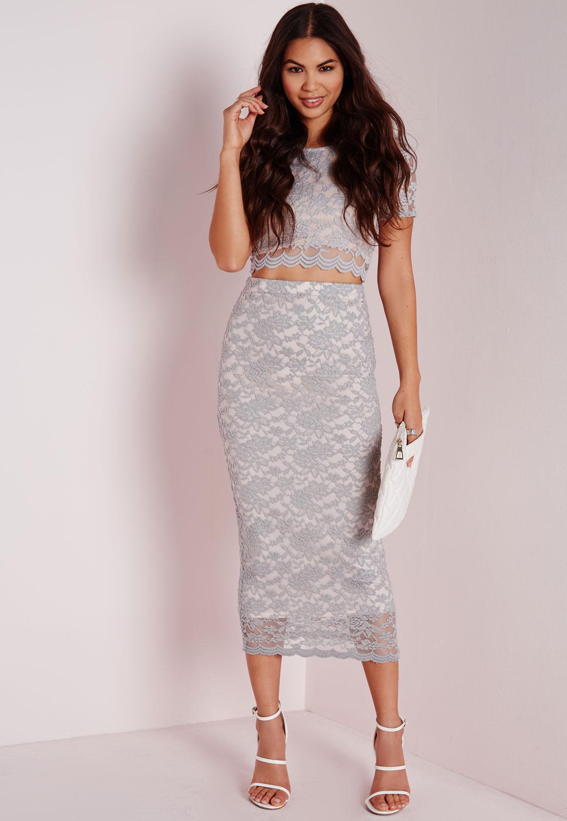 Longline Lace Midi Skirt Grey | Missguided