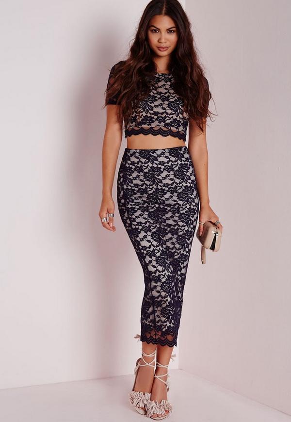 Longline Lace Midi Skirt Navy