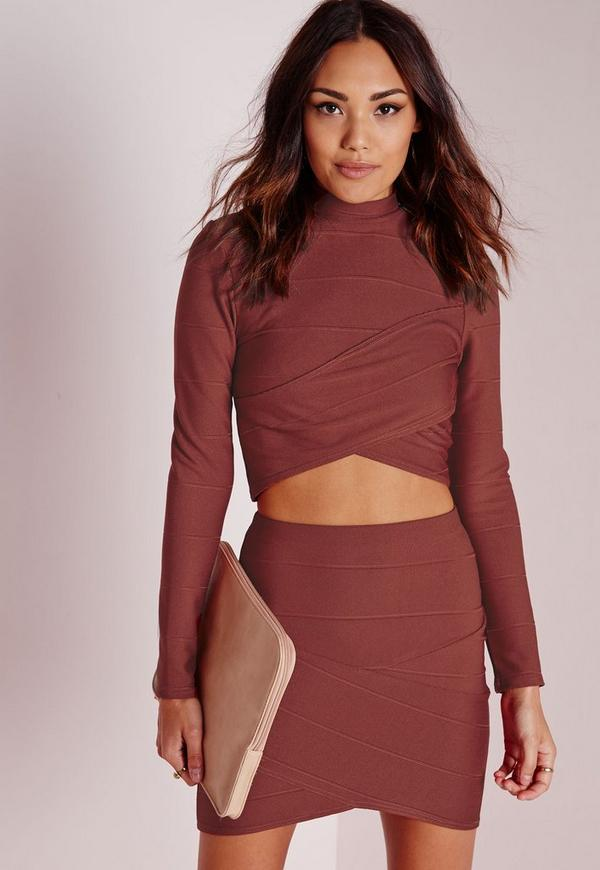 Bandage Asymmetric Hem Mini Skirt Rust