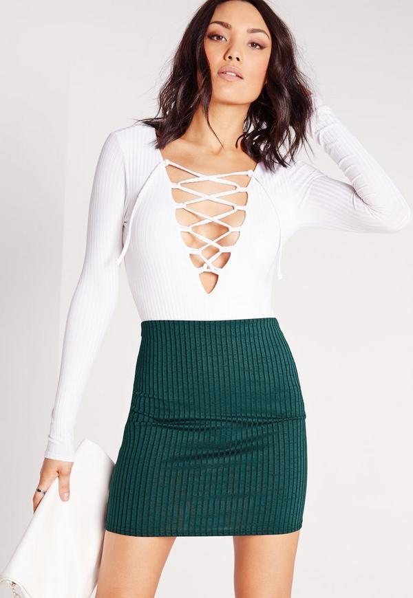 Ribbed Mini Skirt Teal