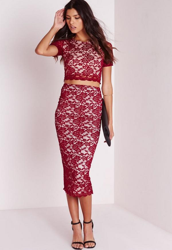 Longline Lace Midi Skirt Burgundy