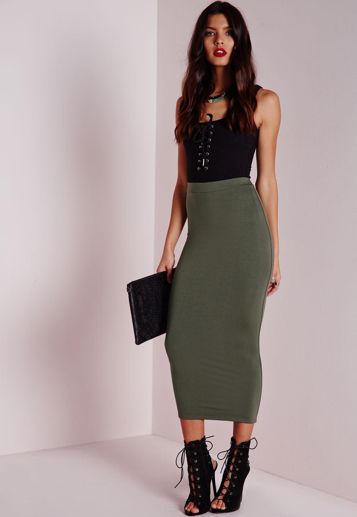 Longline Jersey Midi Skirt Khaki - Skirts - Missguided