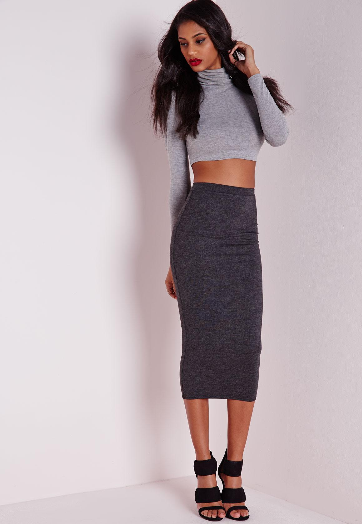 Longline Jersey Midi Skirt Charcoal Grey - Skirts - Missguided