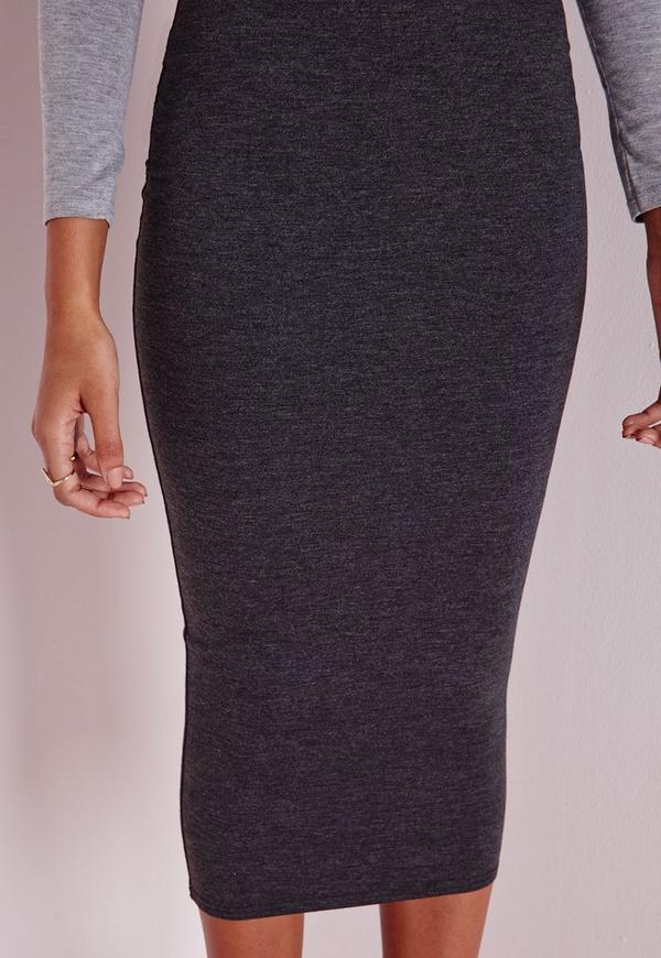 longline jersey midi skirt charcoal grey missguided