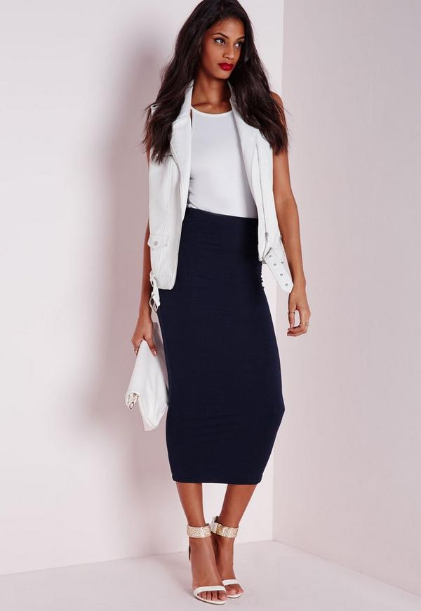 Longline Jersey Midi Skirt Navy | Missguided