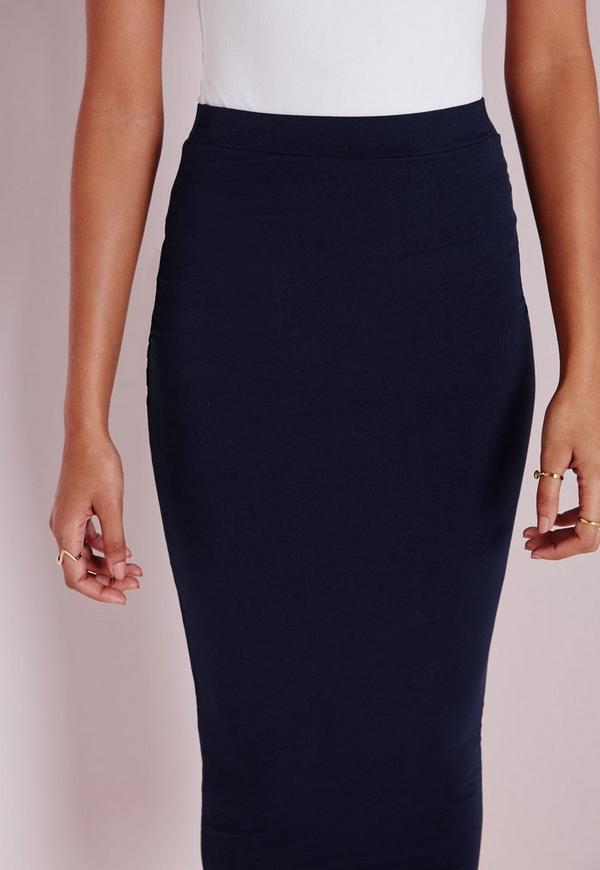 longline jersey midi skirt navy missguided
