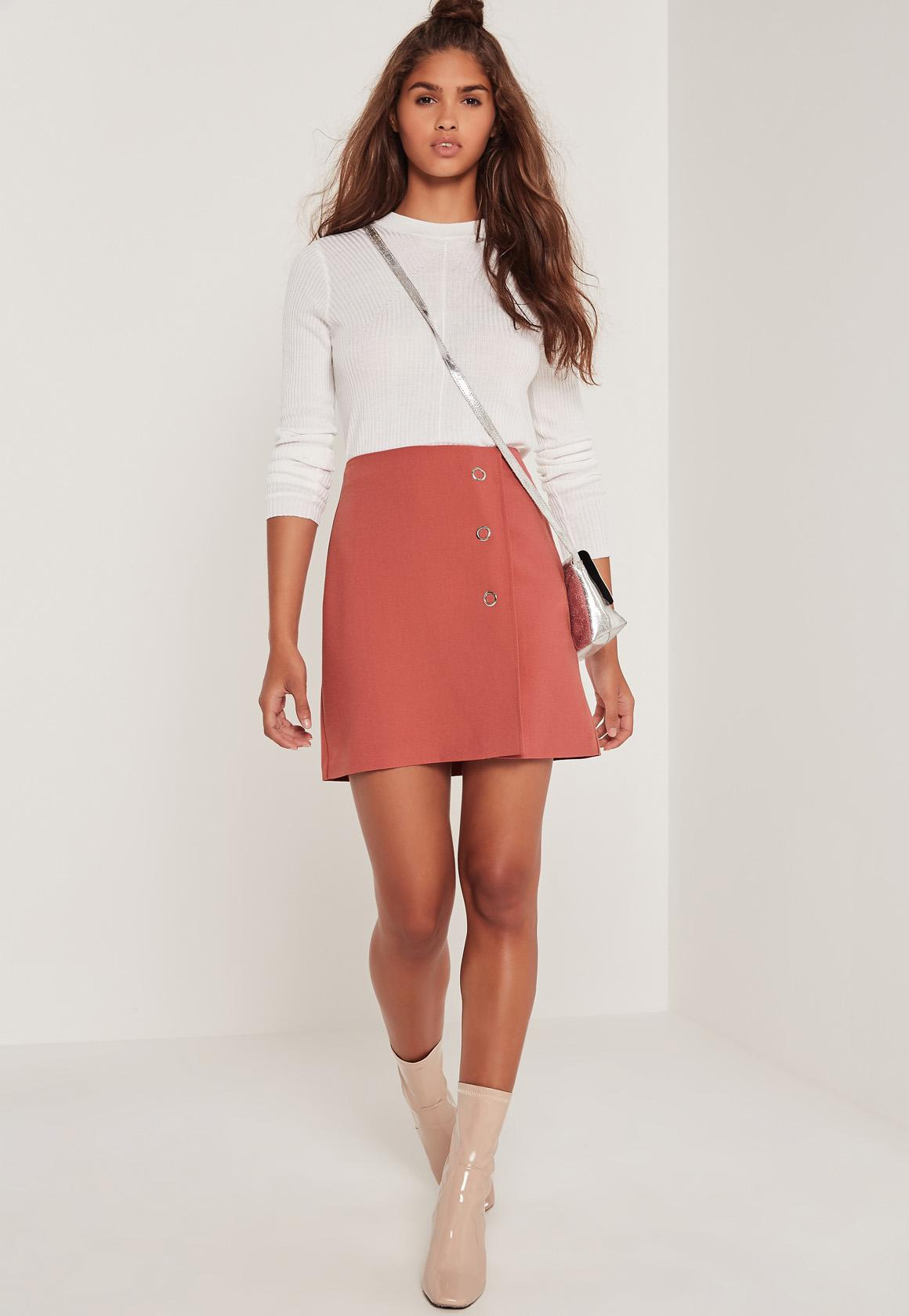 Popper A Line Skirt Pink | Missguided