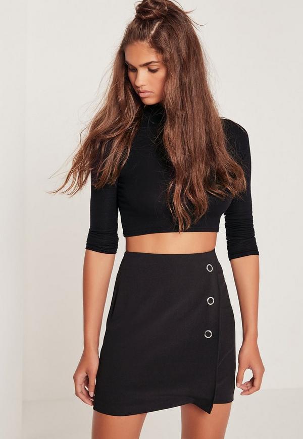 Popper A Line Skirt Black