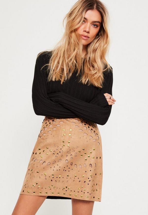Faux Suede Stud Detail Mini Skirt Tan