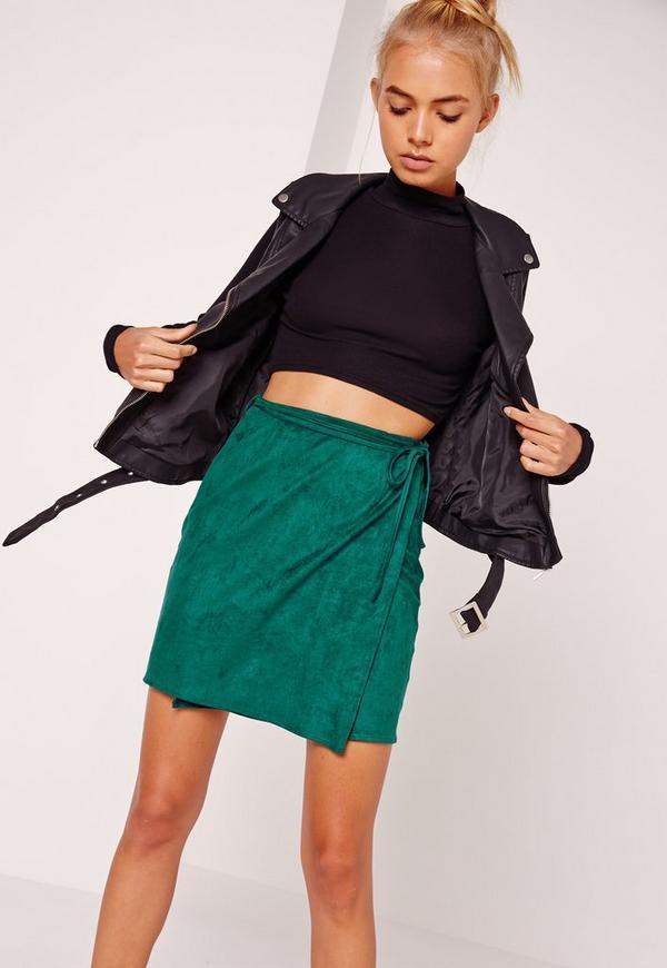 Faux Suede Wrap Around Mini Skirt Green