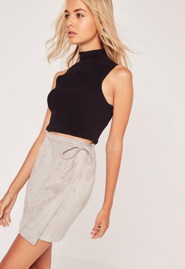 Faux Suede Wrap Around Mini Skirt Grey