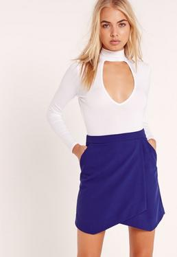 Asymmetric Wrap Hem Mini Skirt Cobalt Blue